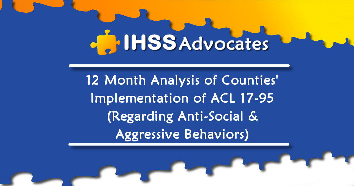12-Month Analysis of Counties' Implementation of CDSS All County Letter 17-95 (Regarding Anti-Social and Aggressive Behaviors)
