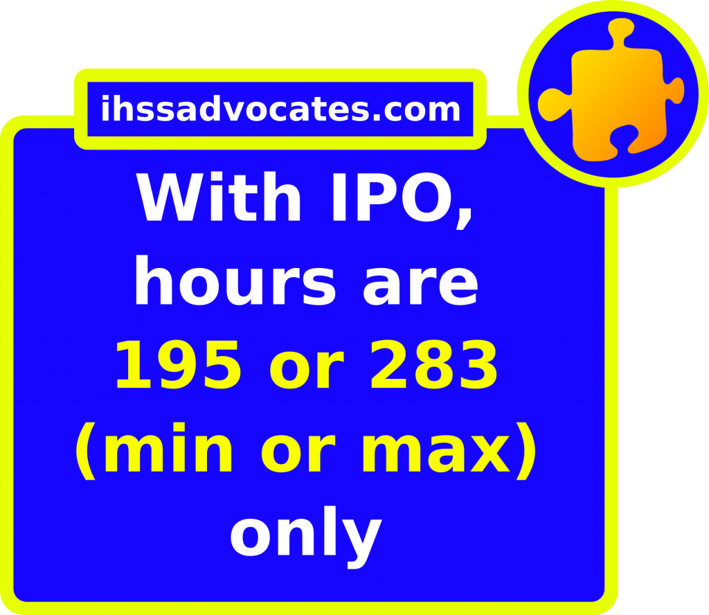 ihssadvocates.com: With IPO hours are 195 or 283 (min or max) only