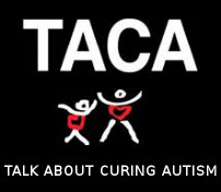 Image: T A C A logo that says talk about curing autism
